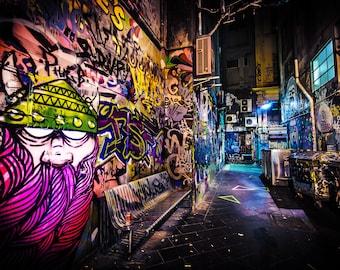 Street Art Print, Graffiti Wall Art, Melbourne Photography, Urban Posters, Viking Photo, Travel gift, Melbourne laneway, Boyfriend gift
