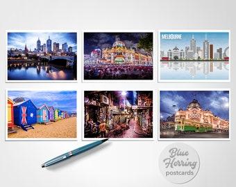 Melbourne Postcards, 6 Pack of Prints, Australia Photograph, Travel Photos, Flinders Street, Brighton Beach, Graffiti Art, Single Post Card