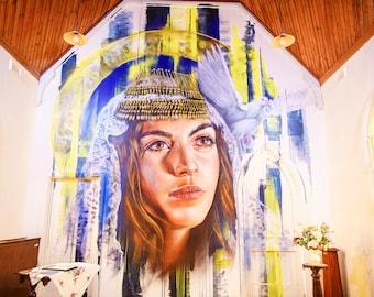Graffiti Wall Mural, Street Art Poster, Church Photography, Very Large Wall Art, Spray Paint Art, Mom Birthday Gift, Teen Girls Room Decor