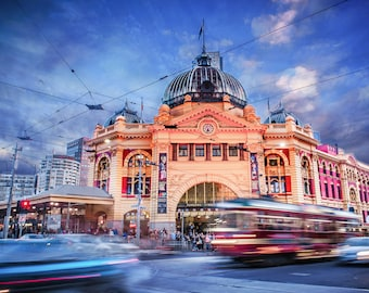 Flinders Street Station, Melbourne Photograph, Travel Poster, Sunset wall art, Photography Prints, Melbourne Art, Birthday Gift for him