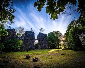 Riga Latvia Photo, Castle Ruins, National Park Poster, Tervēte Nature Park, woodland print, outlander decor, game of thrones gift, medieval