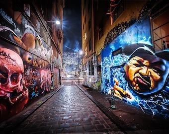 Graffiti Wall Decor, Street Art Print, Melbourne Photo, Hosier Lane Photograph, Industrial Wall Art, Teenage Room Decor, Gift for boyfriend