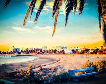St Kilda beach, St.Kilda prints, ocean beach photography, summer photo, palm tree print, Melbourne Theme, Luna Park, Birthday Gift for Him