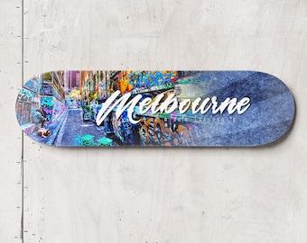 Graffiti Skateboard, Melbourne Photo, Street Art Skatedeck Wall Art, Rutledge Lane Photograph, Melbourne Sign, Special Gift for Him