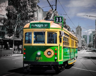 Melbourne Tram, Melbourne Photography, Australian travel poster, Flinders Street Station, WClass Tram, Melbourne travel art, Melbourne Print
