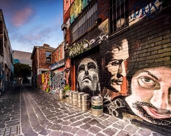 Street Art Wall Art, Graffiti Poster, Melbourne Photography, teen room decor, Very large, student gift, urban prints, boyfriend birthday