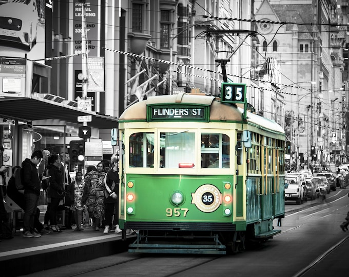 Featured listing image: Black and White, Melbourne Tram Photo, Large Art Print, Flinders Street Station, City Architecture, Green Home Decor,  Big Wall Photograph