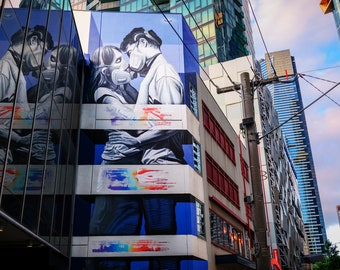 Street Art Wall Art, Graffiti Canvas, covid2020 art, face mask, Coronavirus, covid gift, Melbourne Australia, extra large art, city poster