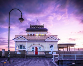 StKilda Pier, Melbourne Print, St Kilda Beach, Australia Travel Poster, Extra Large Art, Coastal Decor, Art Deco, sunset wall art, purple
