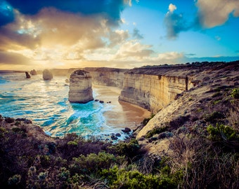 Great Ocean Road, Twelve Apostles, Australian Photography, Ocean Print, Sunset Wall Art, Beach Decor, Travel Photo, Wedding Gift for couple