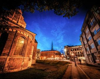 Riga Latvia Photo, Night Photography, Skyline Wall Art, Old City Print, Cathedral Wedding Gift, Medieval Decor, Eastern European, sunset sky