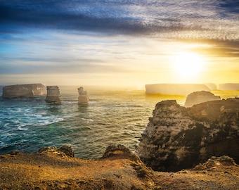 Twelve Apostles, Great Ocean Road, Bay of Islands, Coastal Park, Australian Photo, Panoramic Sunrise, Oversized Wall Art, Travel Poster Gift