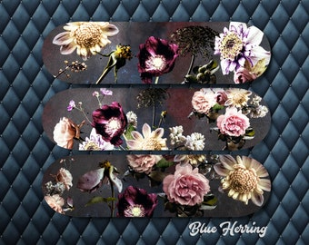 Skateboard Wall Art, Flower skateboard, Set of Three, Floral Skate Deck, Deck Decor, girl teenager room decor, romantic gift, pink flowers