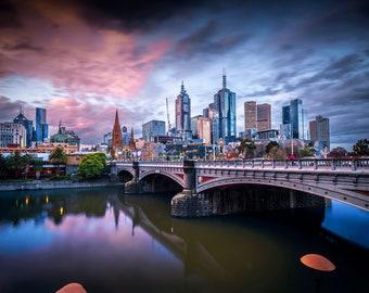 Melbourne Photograph, City skyline, Photography Prints, Australia Art, night sky print, sunset wall art, Travel Photo, Wedding Gifts