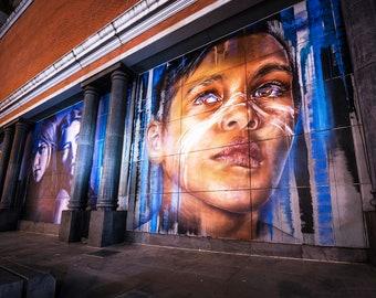Aboriginal Boy, Street Art Portrait, Graffiti Gifts, Melbourne photography, Large Wall Art, Mural Painting, urban art print, Boyfriend Gift