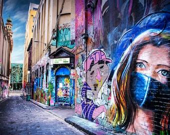Melbourne Street Art, Graffiti Wall Art, Australian Made, Hosier Lane, face mask, Apartment Gift, extra large art, birthday gifts for her