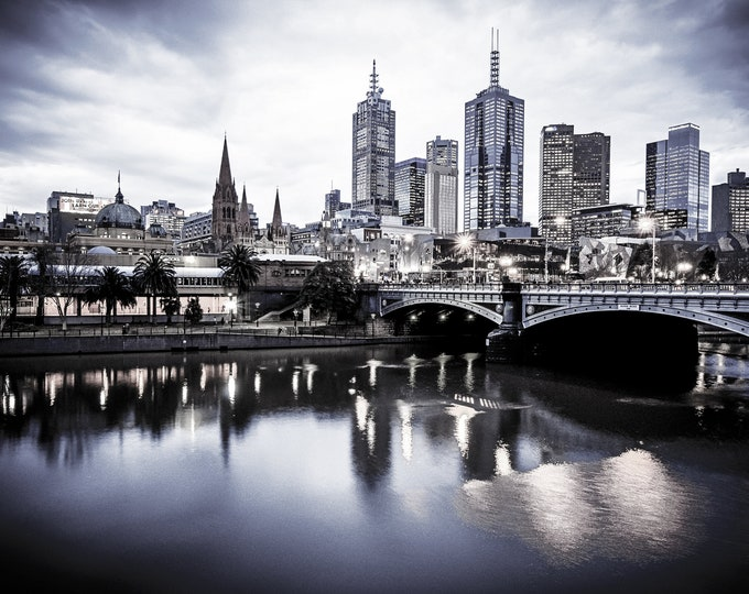 Featured listing image: Melbourne Print, black and white photography, Melbourne City Skyline Photos, Large Wall Art, Flinders Street Station, Australian cityscape