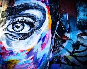 New York Graffiti Street Art, Blue Eye Decor, blue girl wall art, spray paint, Boyfriend Birthday Gift, urban art canvas, extra large canvas
