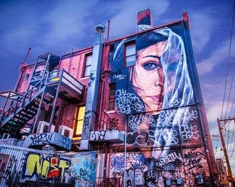 Graffiti Photography, Melbourne Print, Street Art Poster, Apartment Decor, Fitzroy street art, spray paint, industrial artwork, Gift for Him