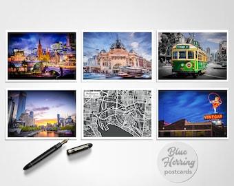 Melbourne Postcards Set of Six Icons, Australia Travel Photos, Melbourne Skyline Print Pack, Flinders Street, Yarra River, Skipping Girl