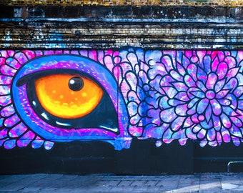 Snake eye, New York Graffiti, Street Art Wall, yellow evil eye, Boyfriend birthday Gift, poster print, purple scales, extra large canvas