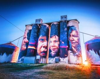 Graffiti Wall Art, Street Art on Canvas, Silo Art Trail, Wall Mural photo, Australian Made, travel poster, Aboriginal Face, Birthday Gift
