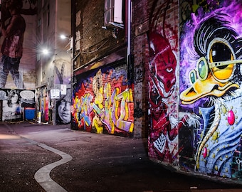 Street Art Print, Graffiti Wall Art, Melbourne Photography, ACDC Lane, Colour Street, teenage room decor, Christmas gift ideas, purple decor