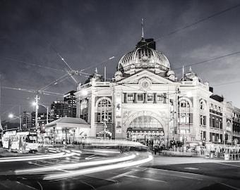 Melbourne city wall art, Black and White prints, Flinders Street Station, Australian made, Melbourne Art, Housewarming gift, home decor