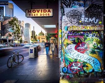 Graffiti Wall Art, Melbourne Poster, Street Art Print, Hosier Lane, Australia photography, large home decor, Flinders Street, Boyfriend Gift