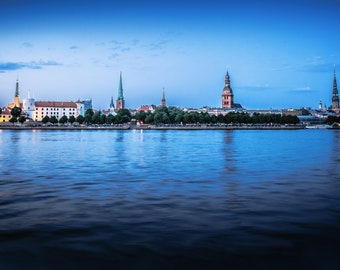Riga Latvia, Panoramic Wall Art, Old Riga, City Skyline, Latvija Gift, Medieval Decor, Eastern Europe, Photo Prints, Blue Herring, Daugava
