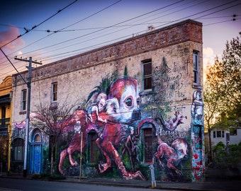 Graffiti Wall Art, Street Art Photo, Melbourne Photograph, spray paint art, industrial decor, monkey painting, September Birthday Gift