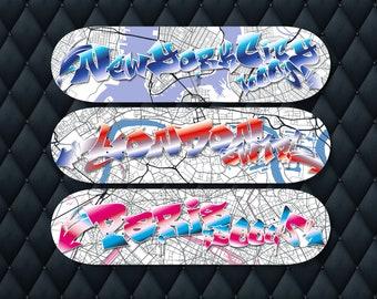 Graffiti Skateboard Decks, Set of Three, New York City, London, Paris, Street Art Graffiti Wall Art, Map Art Print, Personalised Art Gift