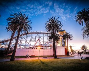 Luna Park, St Kilda Print, Melbourne Australia, Sunset Wall Art, Fine Art Photography, StKilda Beach Decor, Photo Gifts, Travel Poster