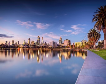 Melbourne Photograph, City Sunset, Photography Prints, Extra Large Wall Art, Albert Park Lake, Travel Poster, Australia made, Wedding Gifts