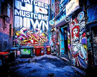 Graffiti Wall Art, Melbourne Print, Street Art Photography, Modern Art Prints, teen room decor, what goes up, rubbish bins, industrial photo