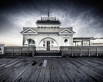 St Kilda Pier Print, Melbourne Australia, Black and White Photography, Beach Artwork, Luna Park, Fathers Day Gift, Coastal Decor Wall Art