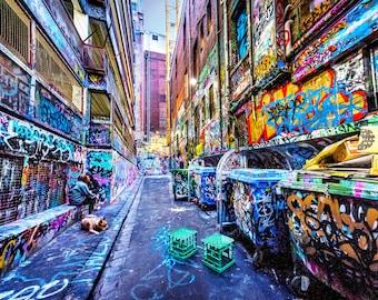 Street Art Print, Graffiti Wall Art, Melbourne Photography, Hosier Lane, industrial decor, spray paint art, urban jungle, Fathers Day Gift