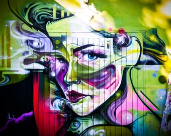 Graffiti Photography, Street Art Print, Green Woman, apartment wall art, spray paint art, urban decor, painted face, Boyfriend Birthday Gift