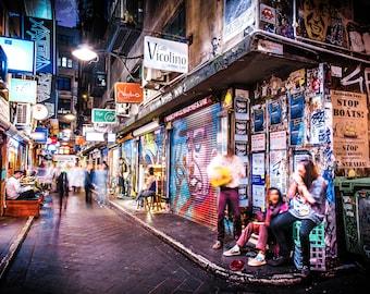 Street Art Print, Graffiti wall art, Melbourne Poster, Degraves Street, teen room decor, urban art, Fathers Day gift, Boyfriend Gift for Him