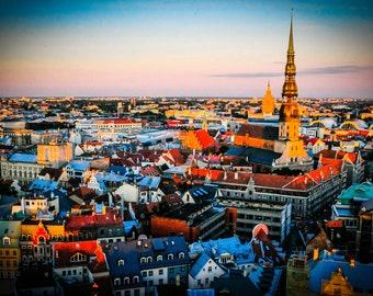 Riga Latvia, Photography Poster, Skyline Wall Art, Old City Print, Latvija Gift, Medieval Decor, Eastern European, panoramic sunrise, Viking