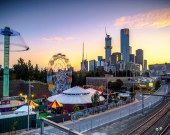 Melbourne Photograph, Australia Print, City Sunset, railway art, skyline photo, extra large canvas art, Travel Decor, Housewarming Gifts