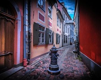 Riga Latvia Photo, Old Riga Town, medieval art print, old city, Eastern, European Wall Art, street photography, travel photo, cobblestone