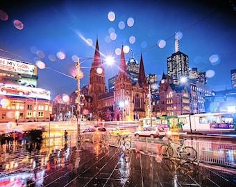 Melbourne Print, Flinders Street Station, city night wall art, Photography Gift, Australia travel poster, rain water print, Melbourne tram