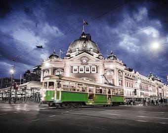 Melbourne Print, Flinders Street Station, Australia Made, Melbourne tram, photography prints, night sky print, wedding gifts, travel decor