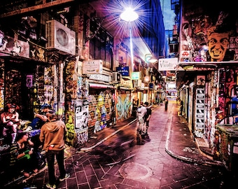Graffiti Photography, Melbourne Print, Street Art Photo, apartment gift, spray paint art, urban photography, Boyfriend Gift, Degraves Street