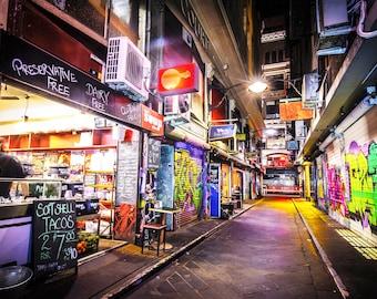 Melbourne Print, Graffiti wall art, Street Art on canvas, Degraves Street, teen room art, Christmas gift, boyfriend Gift for, cafe art print