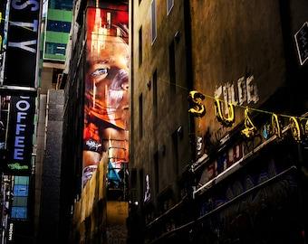 Graffiti Photography, Street Art Canvas Wall Art, Melbourne Print, Aboriginal Boy, Living Room Decor, Hosier Lane, Boyfriend Birthday Gift