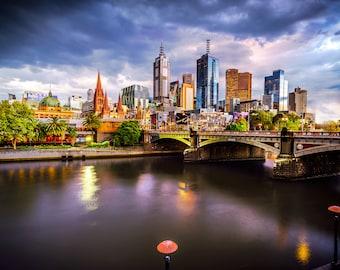 Melbourne Photograph, Flinders Street, Australia Poster, City Sunset, Photography Prints, Melbourne Tram, Travel Poster, birthday gift for