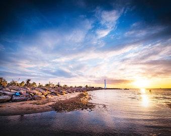 St Kilda Beach, Coastal Wall Art, Luna Park, St Kilda Pier, Melbourne Print, Sunset Photography, Travel Gift, Summer Home Decor, panorama