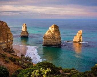 Great Ocean Road Print, Twelve Apostles, Ocean Photography, Australian Made, Oversized Wall Art, April Birthday Gifts, Blue Herring Design